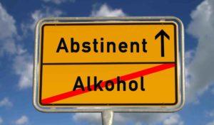 Strassenschild, Abstinent mit Richtungspfeil, Alkohol durchgestrichen